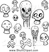 Vector Clip Art of a Black and White Skulls by Lineartestpilot