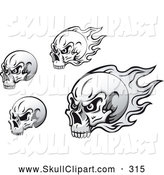 Vector Clip Art of a Black and White Skulls with Flames on White by Vector Tradition SM