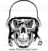 Vector Clip Art of a Black and White Tough Pilot Skull with a Helmet by Vector Tradition SM
