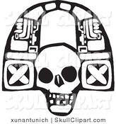 Vector Clip Art of a Black and White Tribal Arch Skull on White by Xunantunich