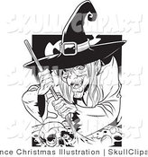Vector Clip Art of a Black and White Ugly Warty Witch Grinning While Stirring a Skull and Potion in a Spell Cauldron by Lawrence Christmas Illustration