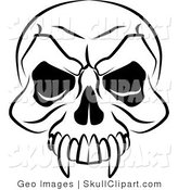 Vector Clip Art of a Black and White Vampire's Skull with Fanged Teeth and Deep Eye Sockets by AtStockIllustration