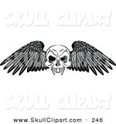 Vector Clip Art of a Black and White Winged Skull Tattoo Design on White by AtStockIllustration