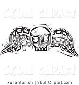 Vector Clip Art of a Black and White Wood Carved Textured Winged Skull on White by Xunantunich