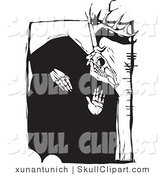 Vector Clip Art of a Black and White Woodcut Styled Pagan Deer Skull with Irish Ogham Writing, Black and White by Xunantunich