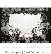 Vector Clip Art of a Black Border Around a White Square with Spirals and Three Human Skulls with Wings by AtStockIllustration