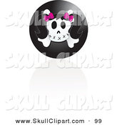 Vector Clip Art of a Black Female Skull Icon with a Reflection on White by Inkgraphics