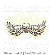 Vector Clip Art of a Black Human Skull Spanning Feathered Wings and Flying in a Ball of Fire, on a White Background by Steve Klinkel