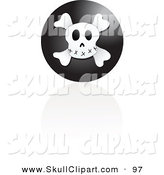 Vector Clip Art of a Black Skull Icon with a Reflection on a White Background by Inkgraphics