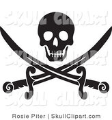 Vector Clip Art of a Black Skull over Crossed Pirate Swords on a White Background by Rosie Piter