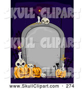 Vector Clip Art of a Blank Tombstone with Halloween Pumpkin Jack O Lanterns Skulls and Candles by BNP Design Studio