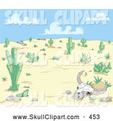 Vector Clip Art of a Bleached Cow Skull in a Dry Desert Landscape by Pushkin