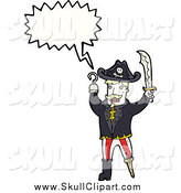 Vector Clip Art of a Blond White Male Pirate with a Wooden Leg Conversation Bubble by Lineartestpilot