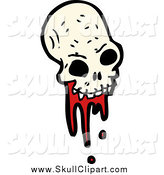 Vector Clip Art of a Bloody Alien Skull by Lineartestpilot