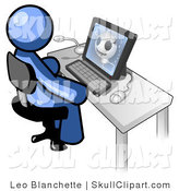 Vector Clip Art of a Blue Doctor Man Sitting at a Computer and Viewing an Xray of a Patient's Head by Leo Blanchette