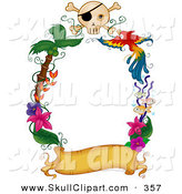 Vector Clip Art of a Border of a Blank Golden Banner with Palm Trees, Flowers a Parrot and Skull by BNP Design Studio