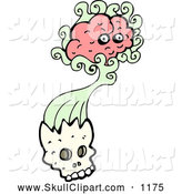 Vector Clip Art of a Brain Bursting from a Human Skull by Lineartestpilot