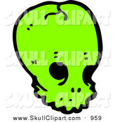 Vector Clip Art of a Bright Green Alien Skull by Lineartestpilot