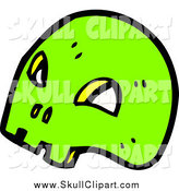 Vector Clip Art of a Bright Green Skull by Lineartestpilot