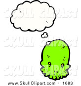 Vector Clip Art of a Bright Green Skull with a Conversation Bubble by Lineartestpilot