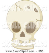 Vector Clip Art of a Broken Cracked Human Skull by Graphics RF