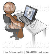 Vector Clip Art of a Brown Medical Doctor Man Sitting at a Computer and Viewing an Xray of a Head by Leo Blanchette