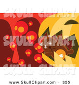 Vector Clip Art of a Brown Teddy Bear in a Giant Pumpkin's Mouth with Skulls and Blood by Mayawizard101