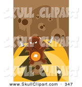 Vector Clip Art of a Brown Teddy Bear with Knives, Breaking out of a Pumpkin's Mouth Under Skulls by Mayawizard101