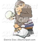 "Vector Clip Art of a Chimpanzee in Thought, Sitting on Top of a Stack of Books and Staring at a Skull, a Parody of Hugo Rheinhold's ""Philosophizing Ape"" Sculpture That Was Created in 1892 by Djart"