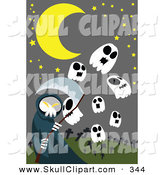 Vector Clip Art of a Cloaked Grim Reaper with Skull Ghosts in a Cemetery by Mayawizard101