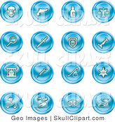 Vector Clip Art of a Collection of Sixteen Blue Icons of a Skull, Pistol, Poison, Scales, Magnifying Glass, Knife, Police Badge, Candlestick, Prisoner, Syringe, Sheriff Badge, Pills, Handcuffs and a Noose by AtStockIllustration