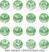 Vector Clip Art of a Collection of Sixteen Green Icons of a Skull, Pistol, Poison, Scales, Magnifying Glass, Knife, Police Badge, Candlestick, Prisoner, Syringe, Sheriff Badge, Pills, Handcuffs and a Noose by AtStockIllustration
