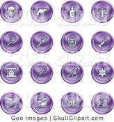 Vector Clip Art of a Collection of Sixteen Purple Icons of a Skull, Pistol, Poison, Scales, Magnifying Glass, Knife, Police Badge, Candlestick, Prisoner, Syringe, Sheriff Badge, Pills, Handcuffs and a Noose by AtStockIllustration