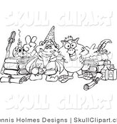 Vector Clip Art of a Coloring Page of a Sorcerer and Owl with Bottles and Books by Dennis Holmes Designs