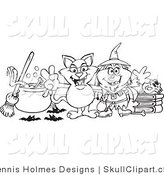 Vector Clip Art of a Coloring Page of a Witch and Her Cat by a Cauldron, Broom and Skull on Books by Dennis Holmes Designs