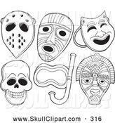 Vector Clip Art of a Coloring Page of Face Masks by Visekart