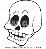Vector Clip Art of a Coloring Page Outline Design of a Skull by Visekart