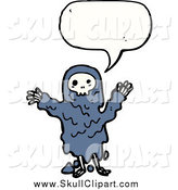 Vector Clip Art of a Costumed Skeleton Speaking by Lineartestpilot