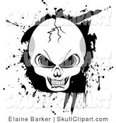 Vector Clip Art of a Cracked Evil Human Skull with Black Grunge Background by Elaineitalia