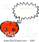 Vector Clip Art of a Cracked Red Skull Speaking by Lineartestpilot