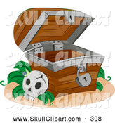 Vector Clip Art of a Cracked Skull by an Empty Treasure Chest by BNP Design Studio