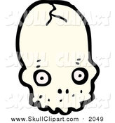 Vector Clip Art of a Cracked Skull by Lineartestpilot