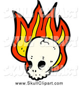 Vector Clip Art of a Cracked Skull on Fire by Lineartestpilot