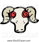 Vector Clip Art of a Crazy Ram's Skull by Lineartestpilot