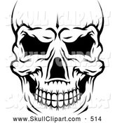 Vector Clip Art of a Creepy Black and White Human Skull Close up and Cropped by Vector Tradition SM