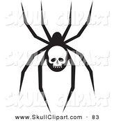 Vector Clip Art of a Creepy Black Spider with a Skull Marking on Its AbdomenCreepy Black Spider with a Skull Marking on Its Abdomen by Rosie Piter