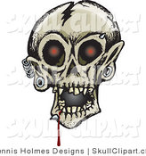 Vector Clip Art of a Creepy Cracked Human Skull with Glowing Red Eyes, Dripping Blood and Eyebrow, Chin and Ear Piercings by Dennis Holmes Designs
