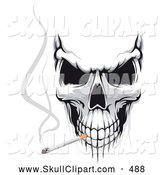 Vector Clip Art of a Creepy Evil Skull Smoking a Cigarette by Vector Tradition SM