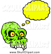 Vector Clip Art of a Creepy Green Skull Thinking by Lineartestpilot