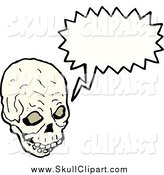 Vector Clip Art of a Creepy Skull Speaking by Lineartestpilot